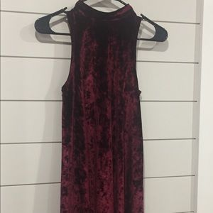Wine Crushed Velvet Dress